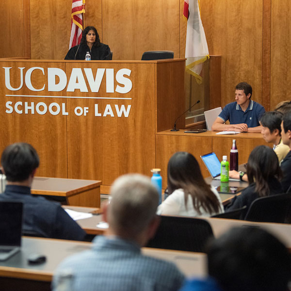 Students and faculty take part in a mock trial at the UC Davis School of Law