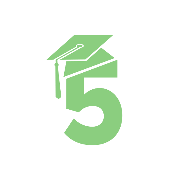 A number 5 icon with a grad cap on it