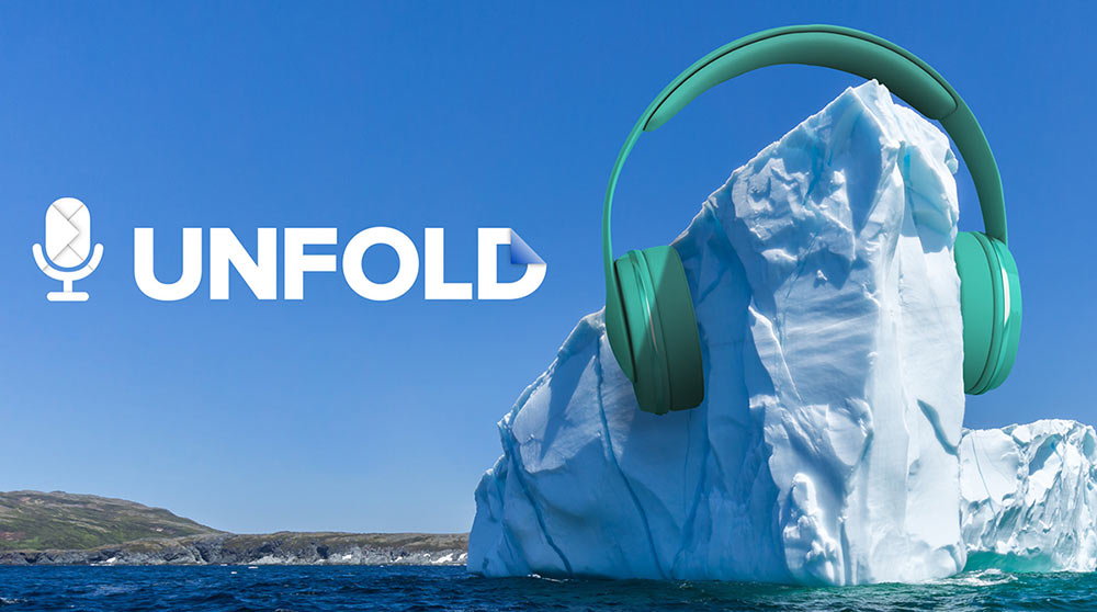 A glacier with earphones on it and the word UNFOLD next to it