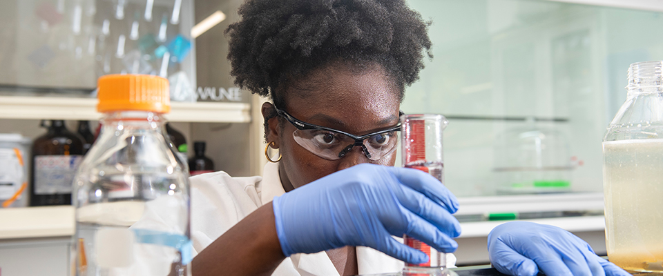 Biology major Imade Ojo works in the Microbiology graduate group