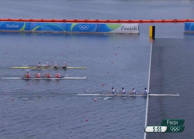 Three boats at finish line