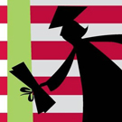 Silhouette of graduate against American flag.