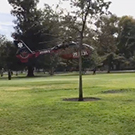 Helicopter landing on the Quad.