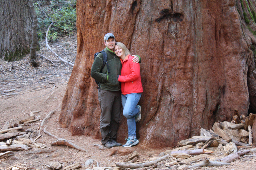 Cody Markelz and Sharon Gray in front of giant tree.