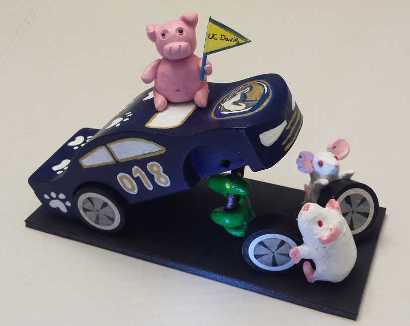 Toy car with animal models as mechanics.