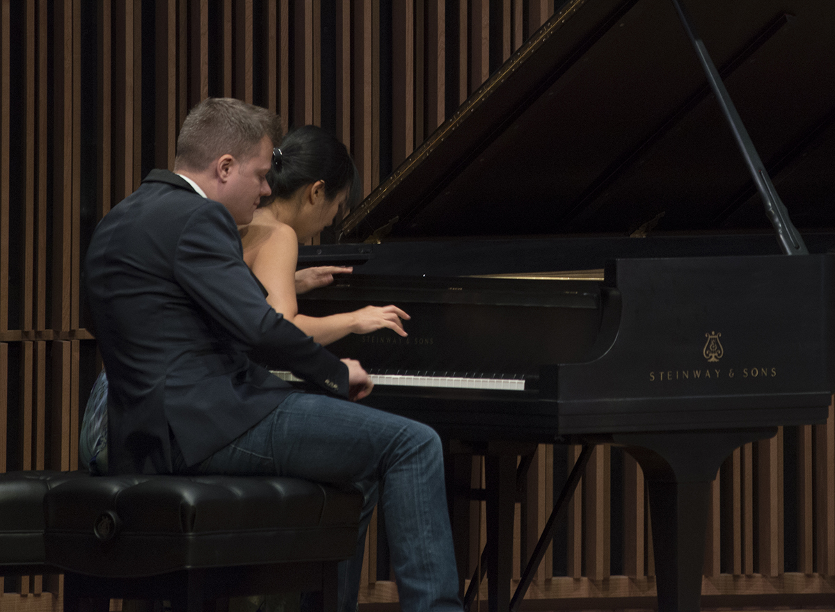 The Anderson Roe Piano Duo performs at the Ann E. Pitzer Center.