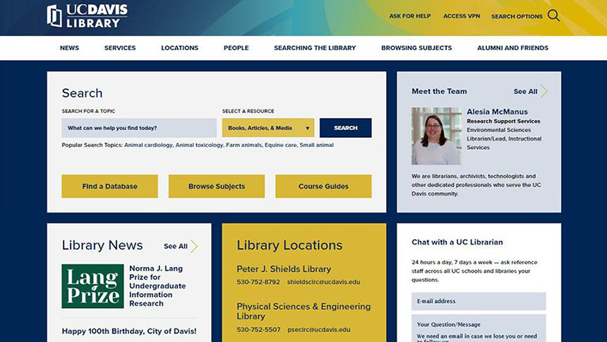 The new library website.