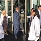 The door to the new Veterinary Medicine building opens