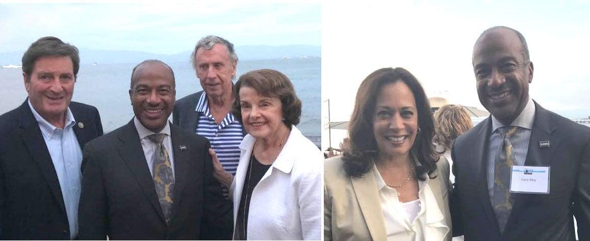 Chancellor with dignitaries at Lake Tahoe