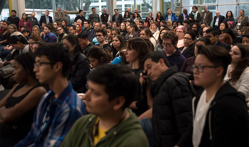 The crowd at Thursday's forum on the executive orders on immigration.