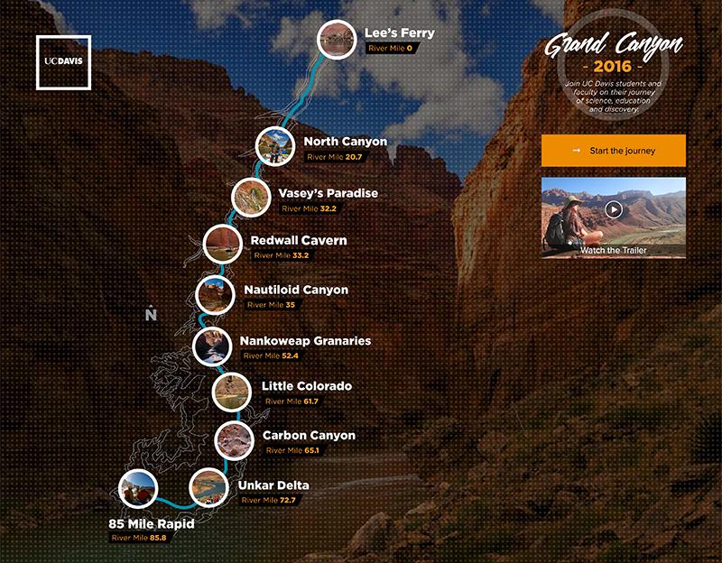 A screenshot of the Grand Canyon website.