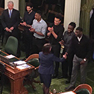 Basketball players meet state lawmakers.