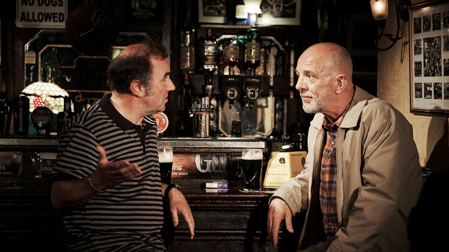 """2 Pints"" actors, talking at bar"
