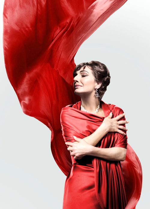 Maria Callas in red gown