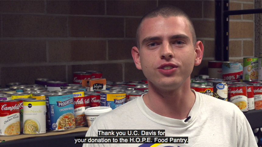 "Student says ""Thank you UC Davis for your donation to the HOPE Food Pantry."""
