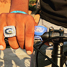 Championship ring on bicycle
