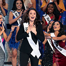 Nina Forest reacts during the Miss America competition.