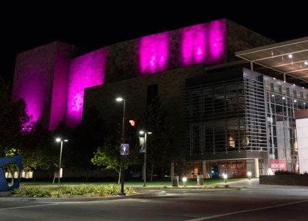 Purple lights on Mondavi Center's south wall