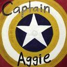 """Captain Aggie"" grad cap from spring 2018"