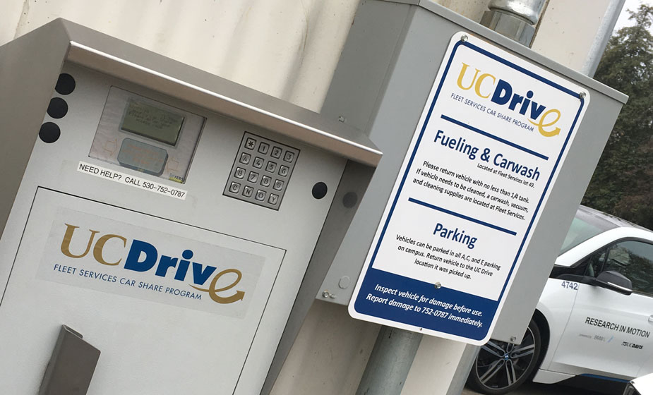 UCDrive electronic kiosk on wall