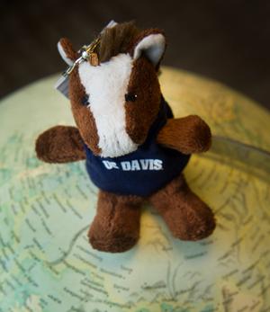 Gunrock stuffed animal atop globe