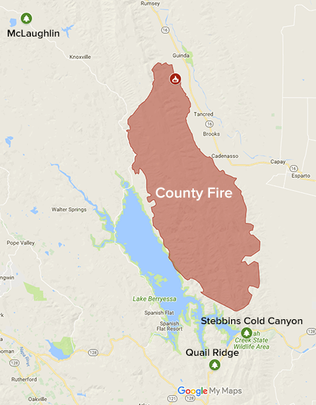 The County Fire on a map