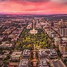 Downtown Sacramento at sunset.