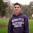 Student in UC Davis sweatshirt