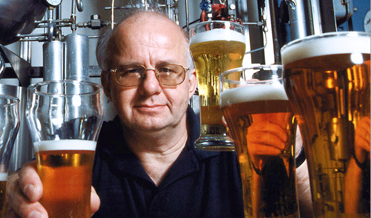 Charlie Bamforth with glasses of beer