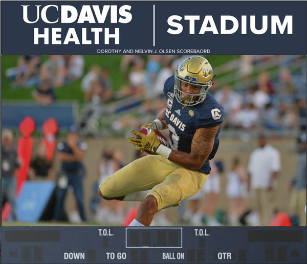 "Artist's rendering of ""UC Davis Health"" scoreboard"