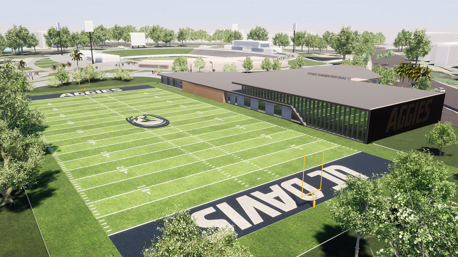 Artist's rendering og Student-Athlete Performance Center and practice field