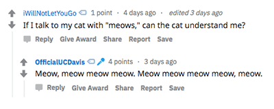Answer to question about speaking to cats with meows.