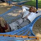 Chancellor Gary S. May in a hammock
