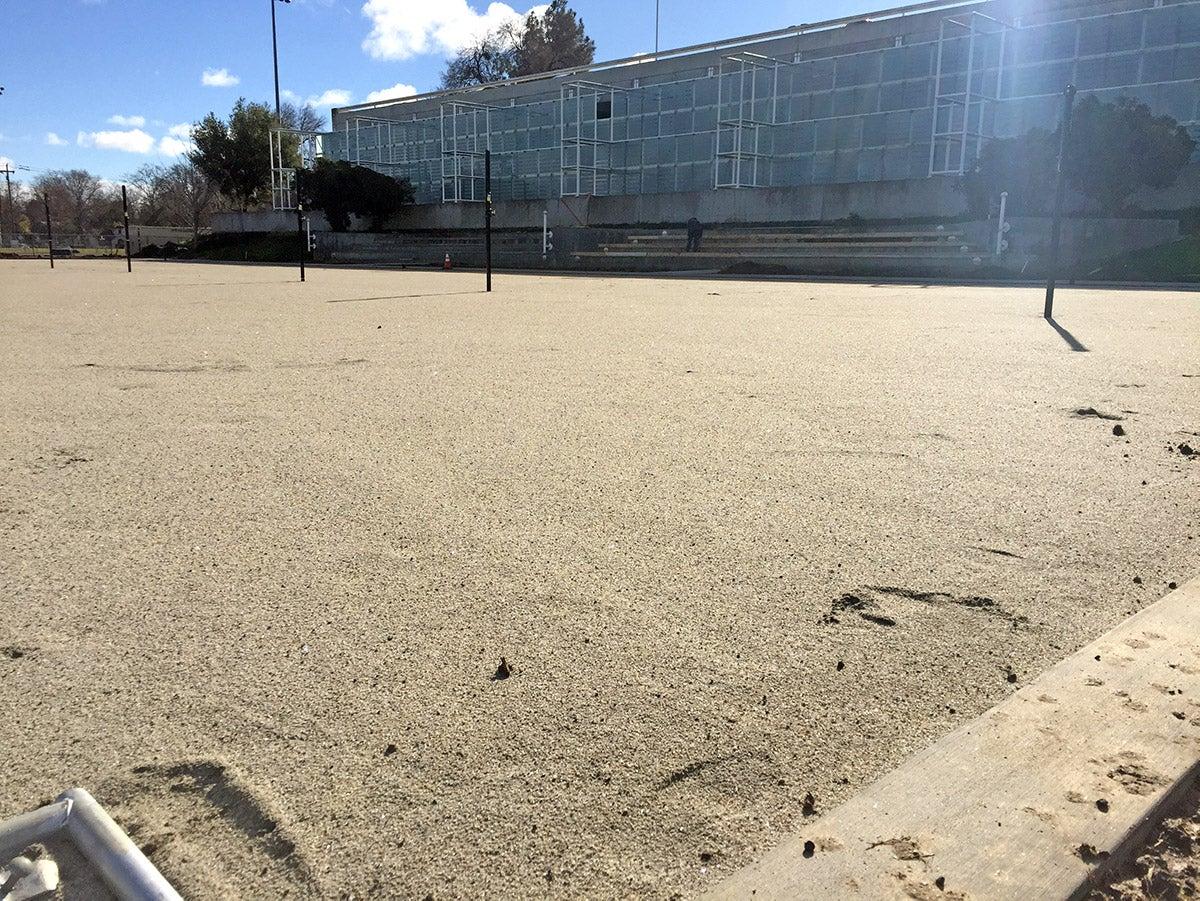 Beach volleyball courts at UC Davis.