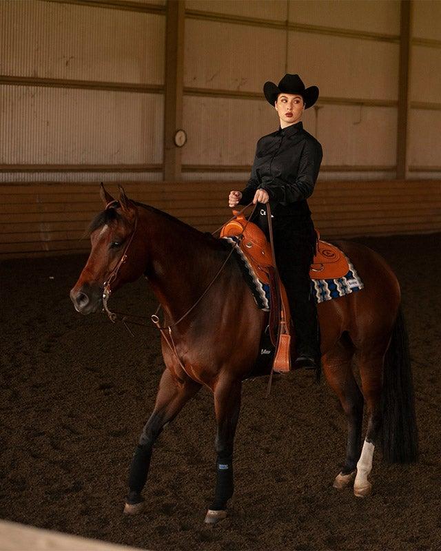 Western-style rider on horse.