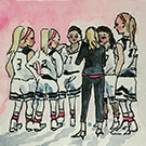 Watercolor painting of the women's basketball team