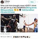 TJ Shorts and AJ John recreate a photo of LeBron James and Dwyane Wade.