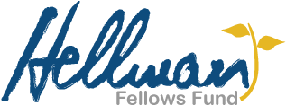 """Hellman Fellows Fund logo, """"Hellman"""" in script, with golden stem and two leaves, growing out of the script."""