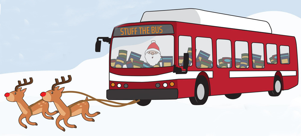 Drawing of rDrawing of red Unitrans bus with food and Santa inside, and reindeer pultting the bus.