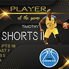Graphic showing TJ Shorts II as player of the game.
