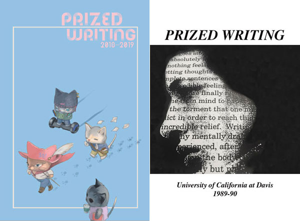 """Prized Writing"" covers, 2018-19 and 1989-90"