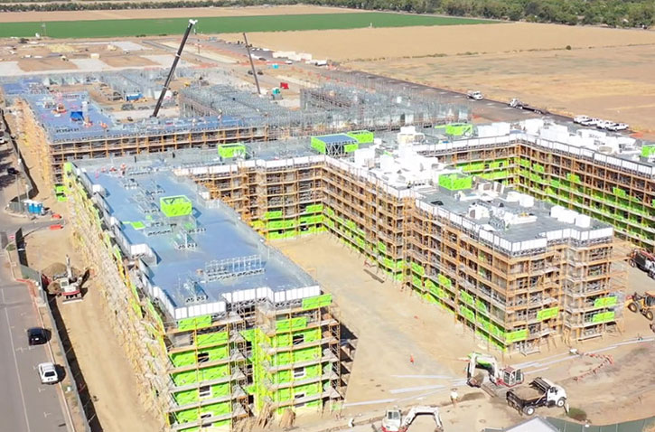 Aerial image of The Green apartmtn project construction