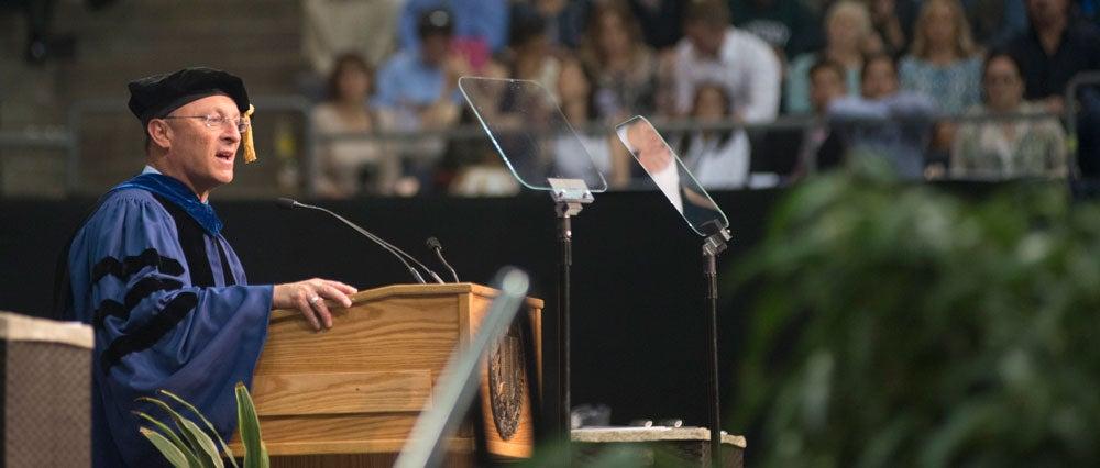 Ralph J. Hexter gives commencement address.
