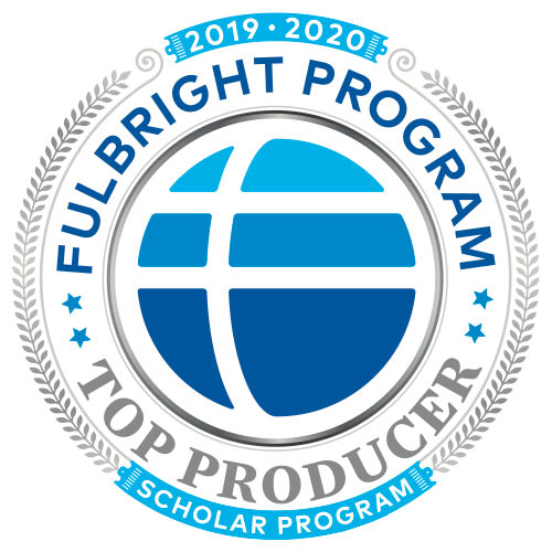 "Fulbright Scholar Program circular logo, including designation ""Top Producer"""