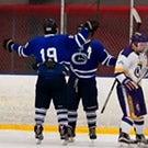 Hockey players celebrate a goal.