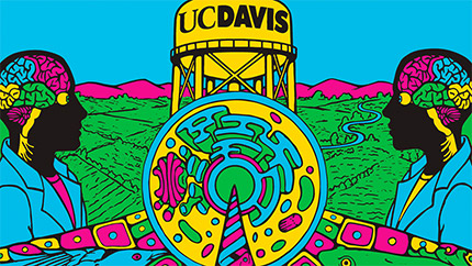 Colorful graphic shows UC Davis water tower and two people.