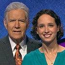 Hannah Safford with Alex Trebek.