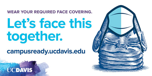 """""""Let's Face This Together"""" graphic, including Egghead wearing a face mask."""