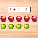 Math problem showing five apples + four apples = nine apples