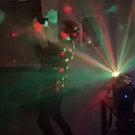 Man dancing with cat.